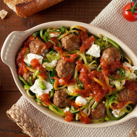 Image of Baked Zucchini Spirals and Meatballs Parmesan