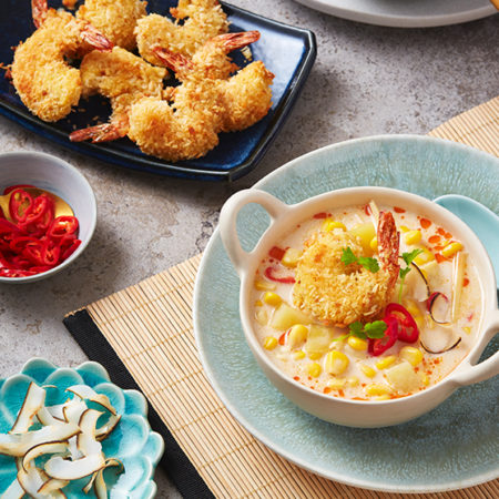Image of Coconut Corn Chowder with Coconut Shrimp
