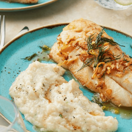 Image of Garlic & Herb Mashed Cauliflower with Crispy Lemon Dill Fish
